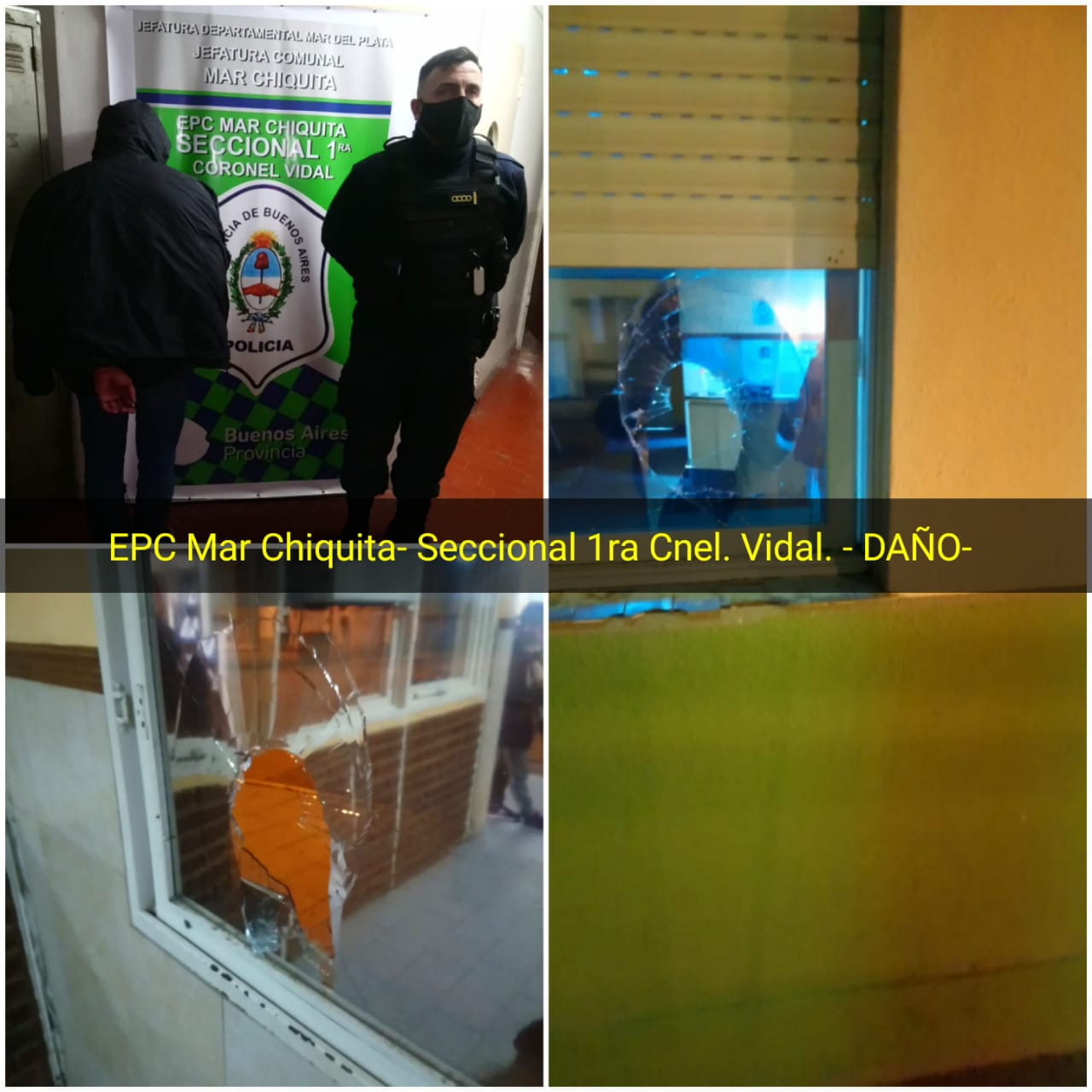 CNEL VIDAL: Denunció un supuesto robo y rompió un vidrio de la comisaria