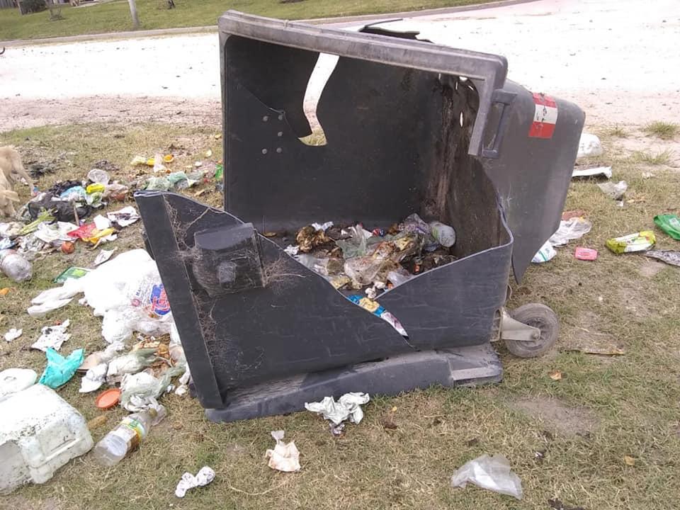 VIVORATÁ: Chocaron un contenedor, lo destrozaron y así lo dejaron en la vía publica