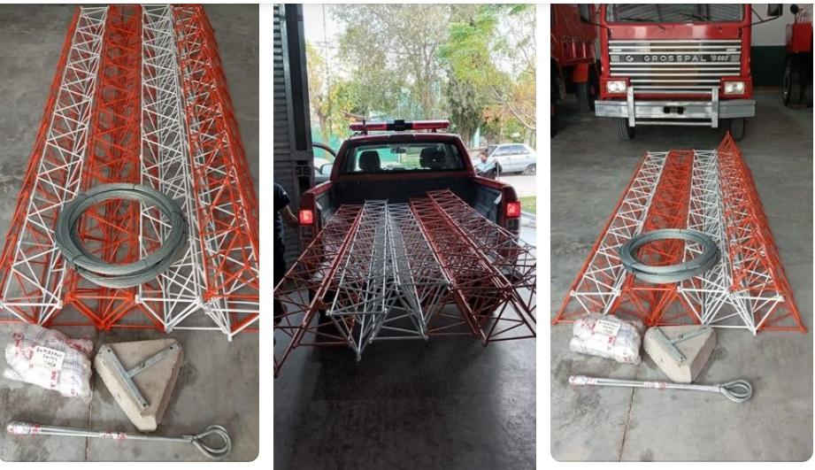 Bomberos de Vivoratá suma una antena de 30 metros para la comunicación entre cuarteles